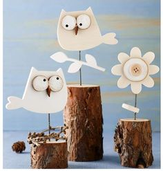 Wooden Owls & Flower on wood