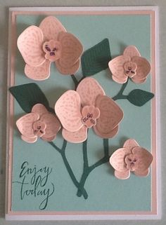 Climbing Orchid stamp set and framelets.  Powder pink ink and paper, pool party paper.   Fiddly, especially with the stalks, but I still consider myself a novice so I'm sure you can do better.