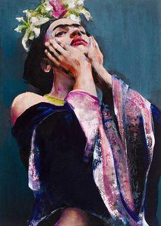 Retrato de Frida Kahlo expuesta en la Opera Gallery de Londres. Lita Cabellut