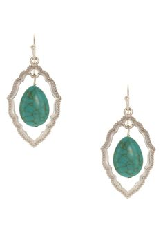 Sparkling Sage - Worn Silver Plated Tear Stone Earrings