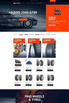 Wheels & Tires Responsive MotoCMS Ecommerce Template #65057