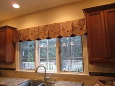 Petal Point Valance  Kitchens often need a touch of warmth and softness to balance the abundance of hard surfaces. Try adding valances as we did here to finish off the perfect kitchen!