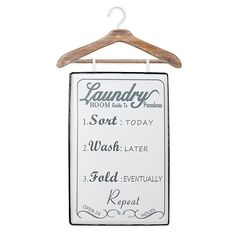 Add a charming touch to your laundry room with this large white metal wall decor panel with a cute laundry list painted in gray, all suspended from a wooden hanger. The metal wall art panel reads: Laundry Hanger, Laundry Decor, Laundry Signs, Laundry Room Art, Metal Wall Decor, Home Decor Wall Art, Metal Wall Art, Room Decor, Grey And White
