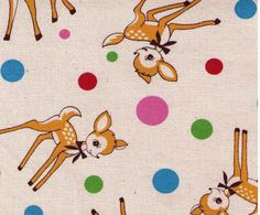 Kokka - Deer and Polka Dots with blue pink red green dots  - Japanese Import Fabric