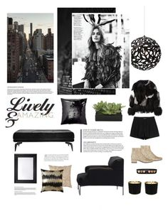 """""""Black and glamorous home"""" by anna-lena-als ❤ liked on Polyvore featuring interior, interiors, interior design, home, home decor, interior decorating, H&M, Driade, David Trubridge and Surface To Air"""
