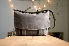 Messenger no2  in brown waxed canvas by moop on Etsy, $183.00