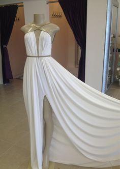 MICHAEL COSTELLO Draped Goddess Dress In White