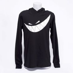 Super soft, lightweight, black cotton long sleeve hooded shirt 'With Teeth' logo in white.  Custom 'With Teeth' label in white.