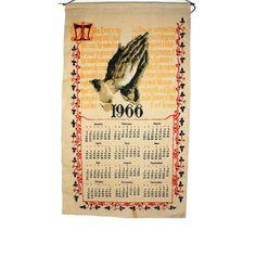 1966 Psalm 23 Prayer Calendar - Linen Calendar Vintage - Kitchen Tea Towel by BatnKatArtifacts
