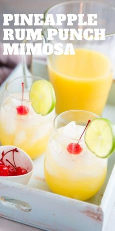 This mimosa recipe is brimming with sweet flavors!  A tropical rum punch recipe transforms into a sophisticated bubbly cocktail just by adding in a little Prosecco!   Serve this cocktail for brunch, for the holidays or just because it's Friday night!