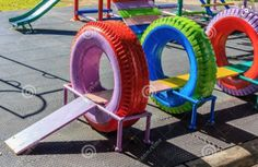 Kids diy playground Recycled Playground Made from Old Tires Kids Outdoor Play, Kids Play Area, Backyard For Kids, Outdoor Fun, Diy For Kids, Diy Outdoor Toys, Dog Backyard, Play Areas, Indoor Play