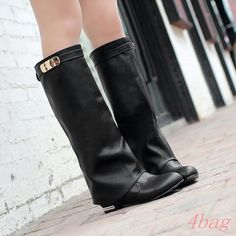 Women'S Shoes Flat Heel Loose Metal Decor Pull On Round Toe Knee High Boots