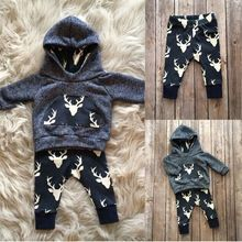 Kids Baby Winter Christmas Clothes Set Newborn Baby Boys Girls Warm Outfits Deer T-shirt Hoodie Top+Pant Leggings 2pcs(China (Mainland))