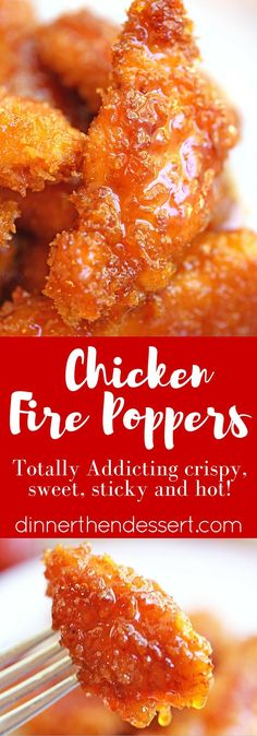 Chicken Fire Poppers are panko crusted, skillet fried then dipped in the most glorious honey-brown sugar hot sauce you've ever tasted and baked until they are bites of crunchy, sticky, sweet, spicy perfection! Best Chicken Recipes, Turkey Recipes, Chicken Panko Recipes, Chicken Meals, Chicken Soup, Fried Chicken, Honey Brown, Brown Sugar, Chicken Poppers