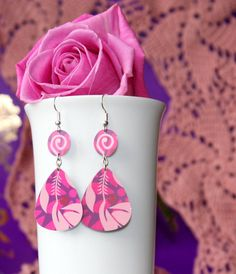 Guitar Pick Earrings Handmade From Upcycled Gift Card PINK