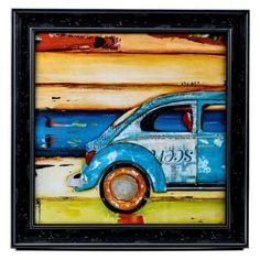 Santa Cruise VW Car Framed Wall Art