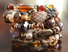 Amber & Brown Beaded Bracelet by FreeToBeadYou on Etsy