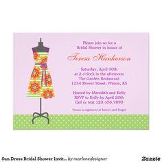 Chá de panela do vestido de Sun Convite 12.7 X 17.78cm