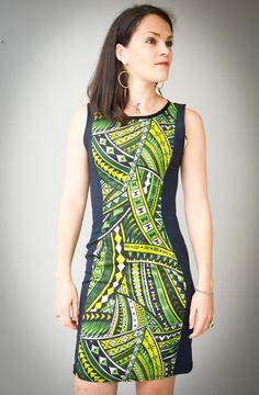 Robe femme moulante, robe ethnique, robe été courte et cintrée, verte et  jean imprimés polynésiens