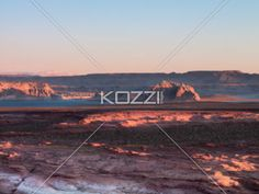view of mountain range and river. - High angle view of mountain range and river.