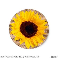 Rustic Sunflower Burlap Sticker Envelope Seal. #country #wedding #rustic