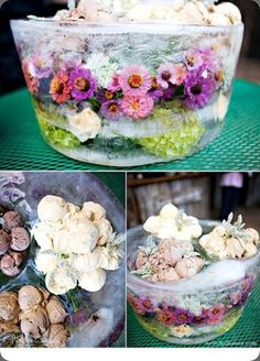 flowers frozen into a bowl. SUPER easy to make and beautiful for outdoor parties. They melt through the evening.