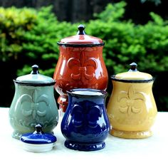 Country Kitchen Canister Set Tuscan Decorative Red Green Blue Yellow Food Storag #ACKTrading