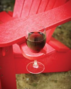 Adirondack chair wine glass holder. I think I need this option added to the Adirondack chairs Mike bought me!!!!!