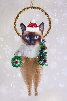 Siamese Cat Christmas Chenille Ornament Feather Tree