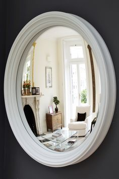 Brighten your home with this huge convex mirror! At 105cm diameter this mirror packs a serious design punch. Try hanging it above your hall console, over a fireplace or even in your home office - it will give you something beautiful to look at!   Handcrafted and hand finished in England, our mirrors are totally original and can't be found anywhere else.  #homeoffice #hallwayideas #fireplace #largeroundmirror #largeconvexmirror #convexmirror #roundwallmirror #interiorstyling #walldecor #wallart Convex Mirror, Round Wall Mirror, Extra Large Round Mirror, Large Mirrors, Lucca, Mirror Over Fireplace, Mirror Inspiration, Mirror Ideas, Study Inspiration