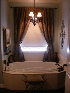 Master bathroom, Master bathroom done in blues and browns, This is our soaking tub in our master bath-we used blues and browns to bring a mo...