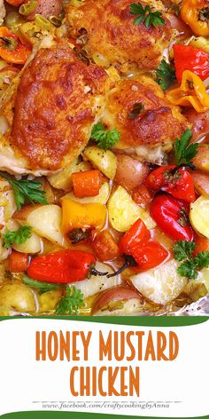 Easy Baked Honey Mustard Chicken thighs with Potatoes and Peppers!  #Easy…