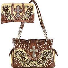 B433Western Cross Floral Tooling Embroidered Purse Concealed Carry Handbag  Wallet SetCTE893SET Beige -- Click image for more details.