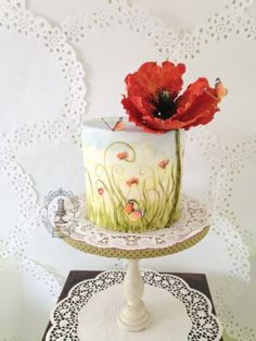 Painted Butterfly & Poppies Cake