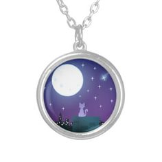 Cat Under the Moonlight Necklace #cats #kittens #moon #nyc #animals