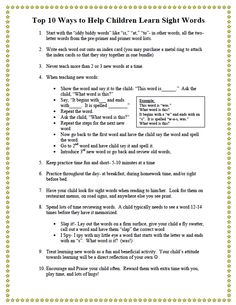 """FREE LANGUAGE ARTS LESSON - """"Top 10 Ways to Teach Sight Words Freebie"""" - Go to The Best of Teacher Entrepreneurs for this and hundreds of free lessons.   Pre-Kindergarten - 2nd Grade   #FreeLesson   #LanguageArts  http://www.thebestofteacherentrepreneurs.net/2013/12/free-language-arts-lesson-top-10-ways.html"""