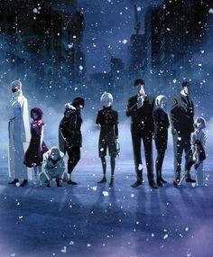Tokyo ghoul, Kaneki, Ayato, Tatara, Eto, Naki, Amon, Akira, Shinohara, Juuzou