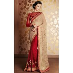 Maroon and Cream Beautiful Embroidered Georgette Saree with Blouse Piece