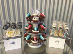 Race car theme birthday - Go Kart Race Car Cupcakes, Helmet Cake Pops and Tire Cake Pops @ www.gotsweetz.com San Diego, CA Birthday Cupcakes, Car Cupcakes, 2nd Birthday, Birthday Ideas, Tire Cake, Race Car Themes, Go Kart Racing, Race Party, Pinewood Derby