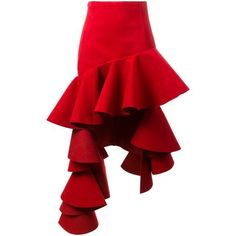 Jacquemus Ruffled High Low Skirt ($825) ❤ liked on Polyvore featuring skirts, red, dip hem skirt, red ruffle skirt, red skirt, short in front long in back skirt and flouncy skirt