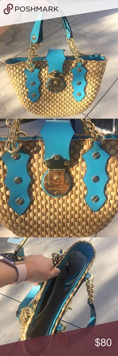 Michael Kors woven handbag Michael Kors medium sized handbag. Teal leather with gold accented hardware. Never been used, beautiful quality. Michael Kors Bags