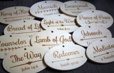 This set includes 12 unfinished wood ornaments. Each ornament is laser engraved with a biblical name or title of Jesus Christ with the scriptural reference. Primary Christmas Gifts, Christian Christmas Crafts, Christmas Jesus, Christmas Time Is Here, Christmas Countdown, Christmas Traditions, Christmas Holidays, Christmas Decorations, Christmas Ideas