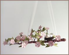 Pink Spring Blossom Tree Limb- Baby Mobile- Nursery Mobile- Baby Bird- Light Pink