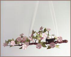 Pink Spring Blossom Tree Limb- Baby Mobile- Nursery Mobile- Baby Bird- Light Pink