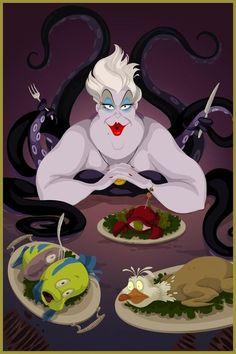 『リトル・マーメイド』アースラの晩餐★ ディズニー・ヴィランズのイラスト画像
