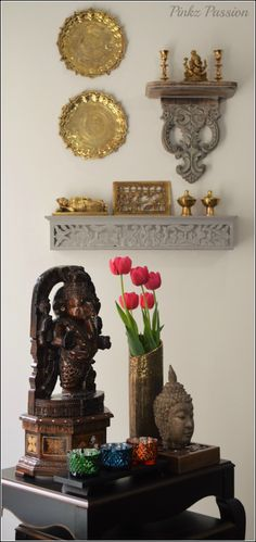 Ganesha décor, Indian décor, traditional indian home, brass décor, brass… Ethnic Home Decor, Indian Home Decor, Diy Home Decor, Home Decoration, Decorations, Indian Living Rooms, My Living Room, Traditional Decor, Traditional House