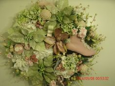 Shabby Cottage Chic Vintage style lace Wreath Christmas holiday pink sage green for sale on EBAY seller: annrichardson10