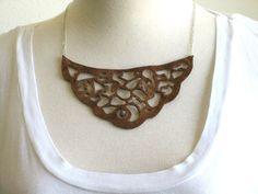 Hand Cut Brown Leather Reversible Collage Yoke Collar Necklace
