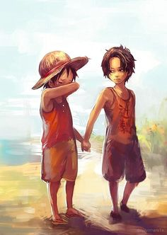 Wipe those eyes/Ace,Luffy/One piece Anime In, Manga Anime, Film Manga, Manga Art, One Piece Anime, One Piece Comic, One Piece Luffy, One Piece Fanart, Ace Sabo Luffy