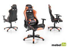 Sportowy fotel biurowy mRACING 12 / ekoskóra czarno-pomarańcz... Gaming Chair, Orange, Cats, Furniture, Home Decor, Products, Black, Kids, Gatos